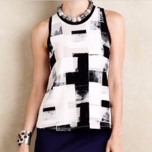 Anthropologie Checkered Abstract tank